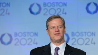 Massachusetts Governor Charlie Baker speaks at a news conference in Boston, Massachusetts January 9, 2015.  Boston was selected on Thursday as the American candidate city that will bid to host the 2024 Olympics, taking the first strides in a grueling marathon to bring the Summer Games back to the United States for the first time since 1996.     REUTERS/Brian Snyder    (UNITED STATES - Tags: SPORT OLYMPICS POLITICS)