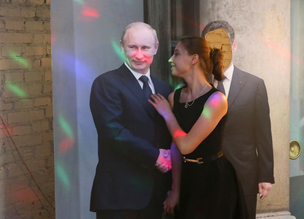 Patrons can take photos with a life-size cutout of the Russian president.