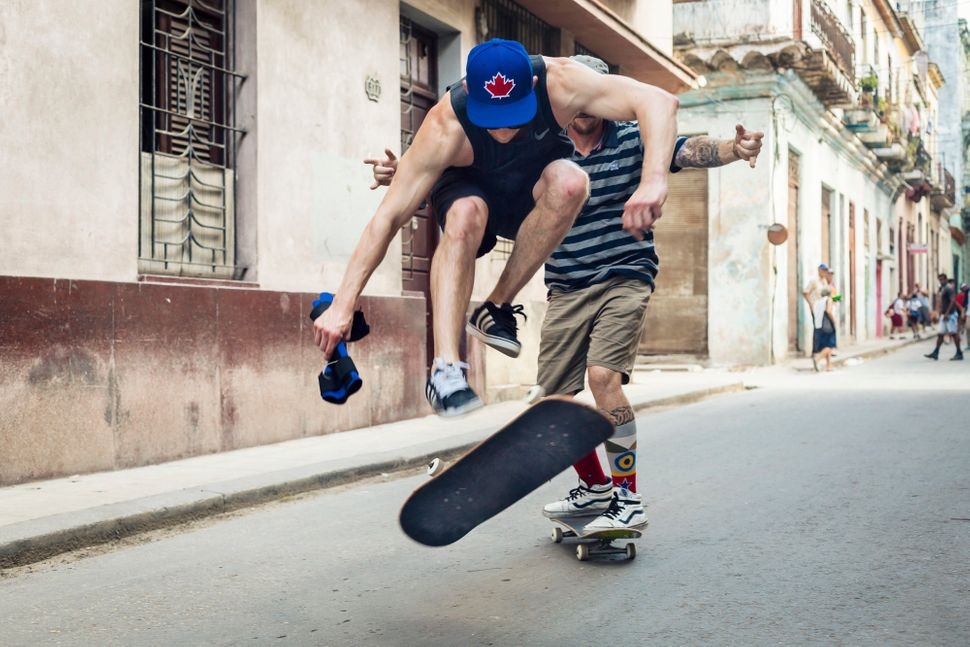 "<a href=""https://www.instagram.com/cobras__/"">Chris Foote</a> doing a 360 flip in the streets of Centro Habana. (All Photos a"