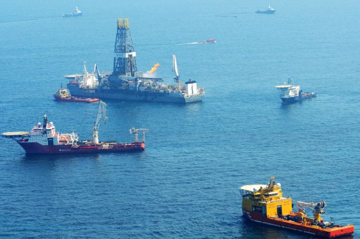 Offshore supply vessels assist and observe the worksite of the Deepwater Horizon oil rig explosion May 17, 2010 in the Gulf o
