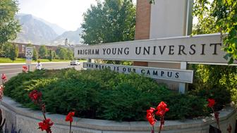 UNITED STATES - SEPTEMBER 01:  A sign stands at the main entrance to the campus of Brigham Young University in Provo, Utah, U.S., on Tuesday, Sept. 1, 2009. People in the Mormon community, including college students, were the targets of a fraud perpetrated by record producer Henry Jones and Tri Energy Inc., the U.S. Securities and Exchange Commission alleges.  (Photo by George Frey/Bloomberg via Getty Images)