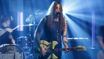 LATE NIGHT WITH SETH MEYERS -- Episode 283 -- Pictured: (l-r) Laura Jane Grace of Against Me! performs on November 4, 2015 -- (Photo by: Lloyd Bishop/NBC/NBCU Photo Bank via Getty Images)