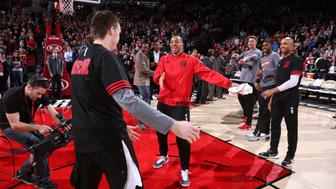 PORTLAND, OR - FEBRUARY 21: C.J. McCollum #3 of the Portland Trail Blazers before the game against the Utah Jazz on February 21, 2016 at the Moda Center Arena in Portland, Oregon. NOTE TO USER: User expressly acknowledges and agrees that, by downloading and or using this photograph, user is consenting to the terms and conditions of the Getty Images License Agreement. Mandatory Copyright Notice: Copyright 2016 NBAE (Photo by Sam Forencich/NBAE via Getty Images)