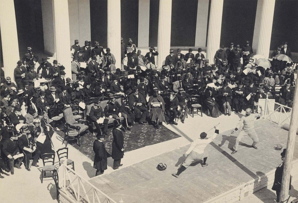 Fencing games at the Zappeion Hall.