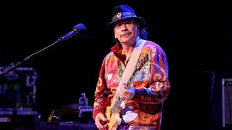 POUGHKEEPSIE, NEW YORK - APRIL 10:  Musician Carlos Santana performs on stage at The 1869 Bardavon Opera House on April 10, 2016 in Poughkeepsie, New York.  (Photo by Steve Mack/Getty Images)