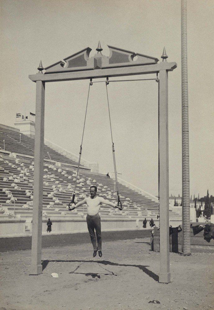 A photo of German athlete Hermann Weingartner, who won awards in men's gymnastics rings.