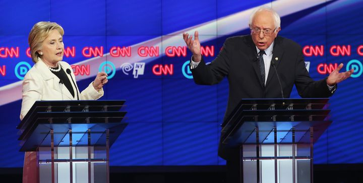 Democratic Presidential candidates Hillary Clinton and Sen. Bernie Sanders (I-Vt.) debate on April 14, 2016 in Brooklyn&