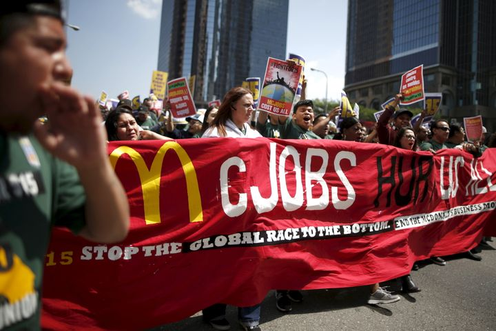People in Los Angeles protest for a $15/hour minimum wage on Thursday.