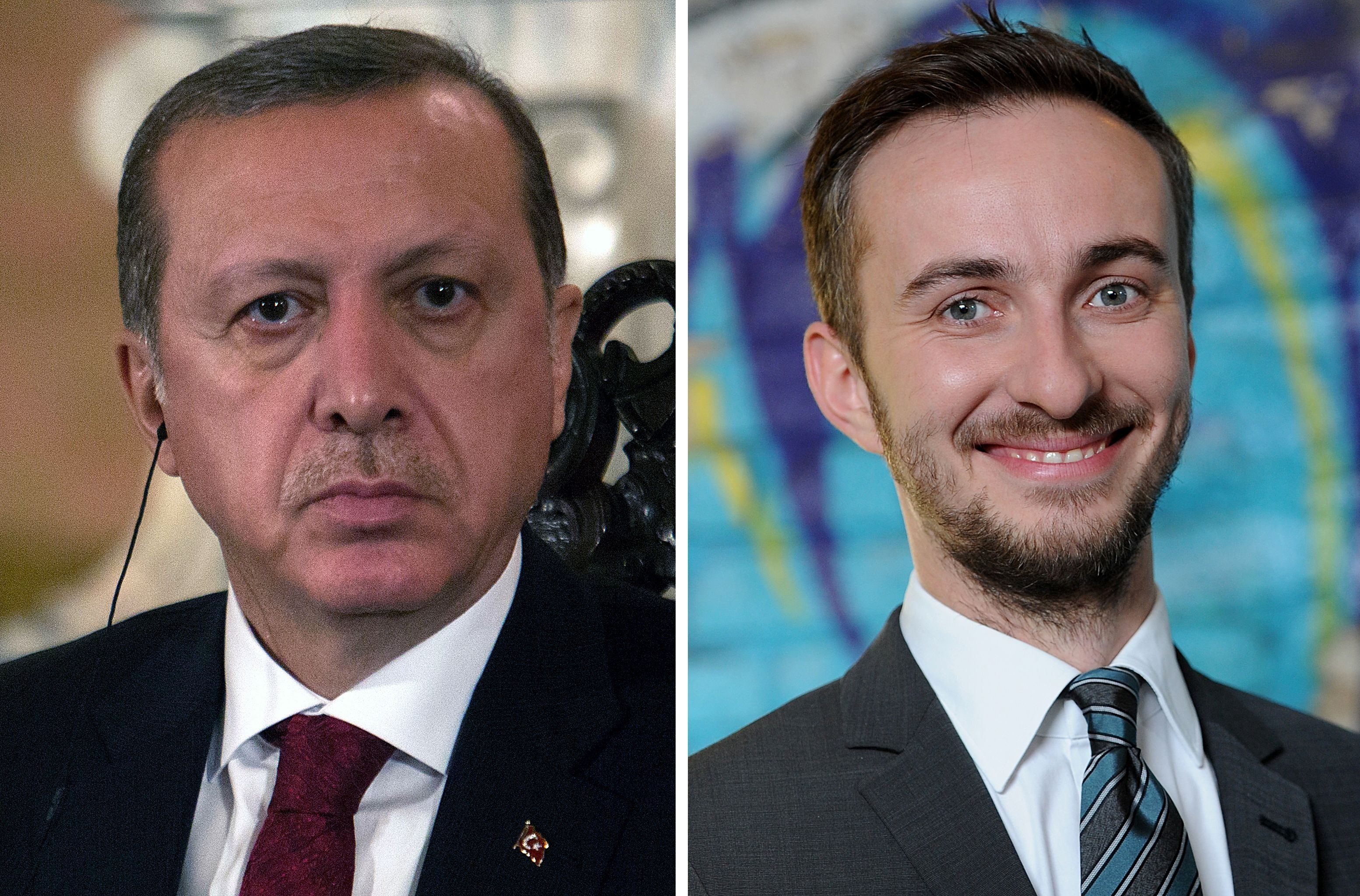 (FILES) This combo made with file pictures shows Turkish President Recep Tayyip Erdogan (L) in Lima on February 2, 2016 and German TV comedian Jan Böhmermann on February 22, 2012 in Berlin.  German Chancellor Angela Merkel on April 15, 2016 authorised a Turkish demand for criminal proceedings against Boehmermann over a crude satirical poem about President Recep Tayyip Erdogan in a bitter row over free speech. / AFP / dpa AND AFP / Britta PEDERSEN AND SEBASTIAN CASTAÑEDA / Germany OUT        (Photo credit should read BRITTA PEDERSEN,SEBASTIAN CASTANEDA/AFP/Getty Images)