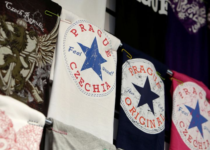 A t-shirt with a sign Czechia is displayed in a souvenir gift shop in central Prague, Czech Republic, April 14, 2016.