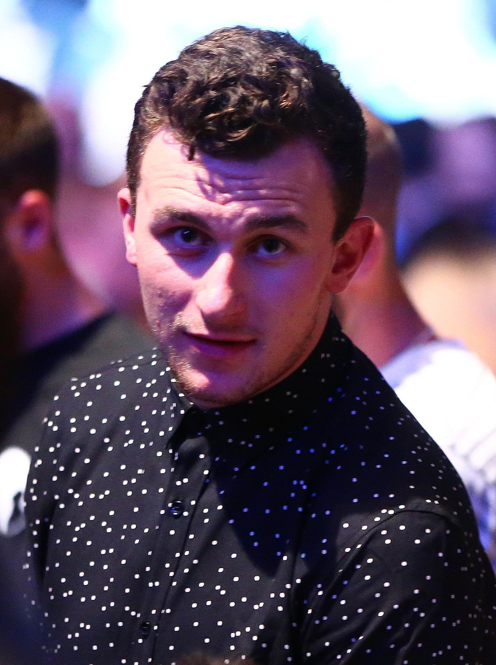 March 5, 2016; Las Vegas, NV, USA; NFL players Johnny Manziel attends the match between Nate Diaz and Conor McGregor during UFC 196 at MGM Grand Garden Arena. Mandatory Credit: Mark J. Rebilas-USA TODAY Sports