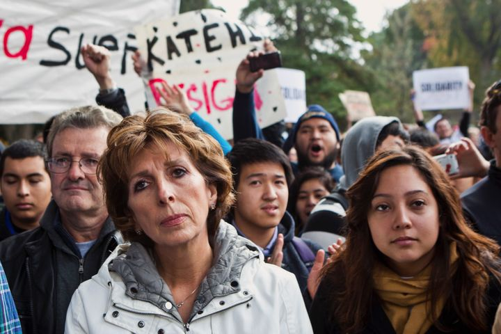 UC Davis Chancellor Linda Katehi waits to speak to students at an Occupy UCD rally on campus in Davis, Califonia November 21,