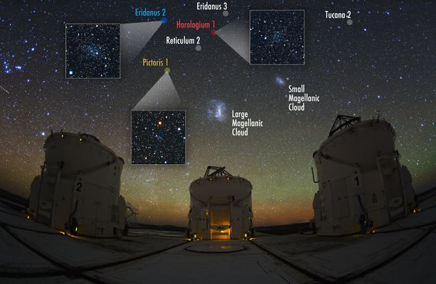 The Large Magellanic Cloud and other orbiting galaxies are seen at the Paranal Observatory...