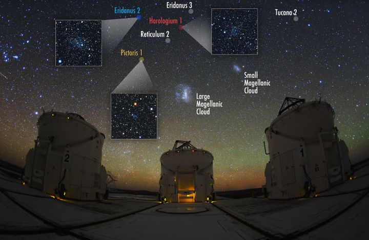 The Large Magellanic Cloud and other orbiting galaxies are seen at the Paranal Observatory in the Atacama Desert in Chile.