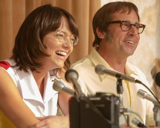 Emma Stone as Billie Jean King and Steve Carrell as Bobby Riggs.