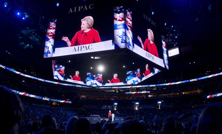 Hillary Clinton speaks during the American Israel Public Affairs Committee (AIPAC) 2016 Policy Conference at the Verizon Cent