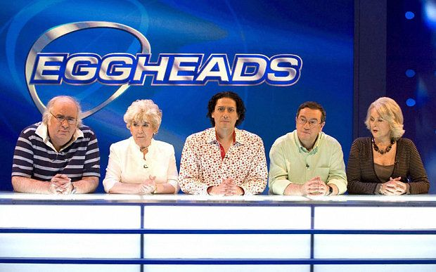 CJ (centre) has been on the 'Eggheads' panel since it debuted in