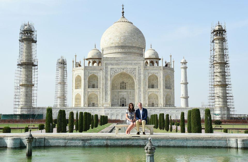 Prince William, Duke of Cambridge and Catherine, Duchess of Cambridge pose at The Taj Mahal in