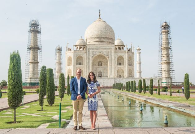 Catherine, Duchess of Cambridge wore a Naeem Khan dress for the Taj Mahal visit with Prince