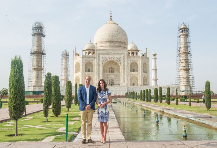 Catherine, Duchess of Cambridge wore a Naeem Khan dress for the Taj Mahal visit with Prince William.