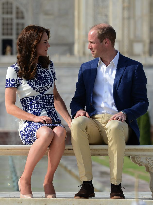 The Duke and Duchess of Cambridge look very much in love in front of the famous building, which an Indian...