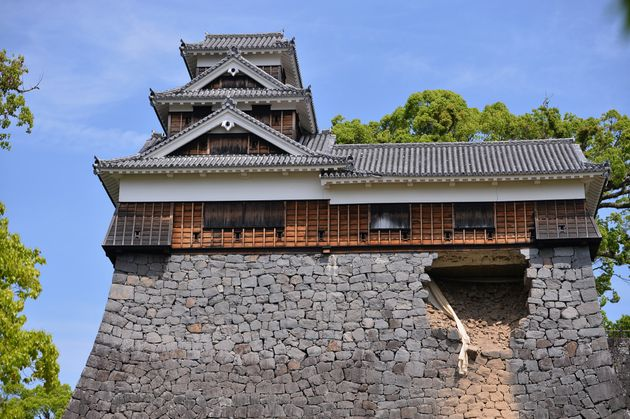 The 400-year-old Kumamoto Castle was badly damaged in the
