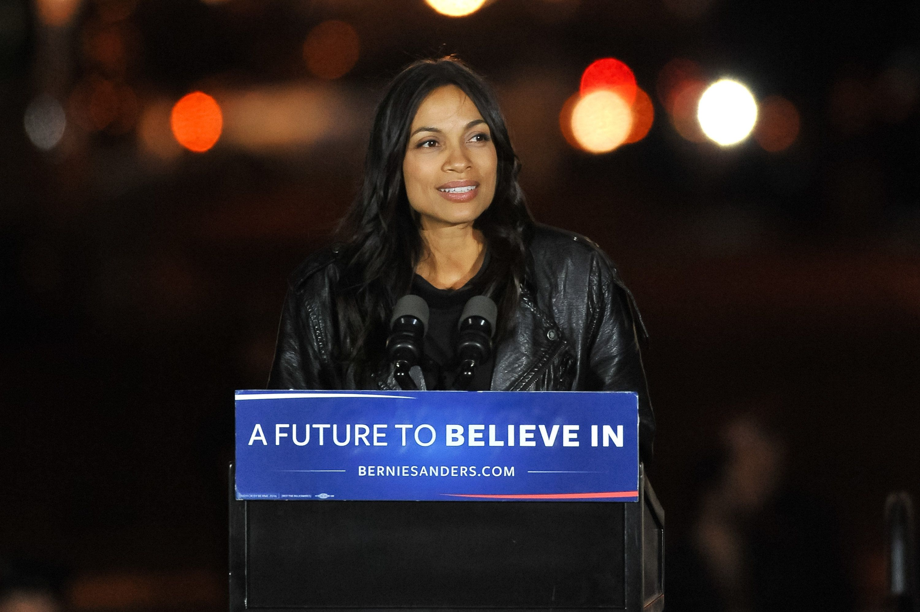 NEW YORK, NEW YORK - APRIL 13:  Rosario Dawson speaks onstage at a campaign event for Democratic presidential candidate U.S. Senator Bernie Sanders (not pictured) at Washington Square Park on April 13, 2016 in New York City.  (Photo by D Dipasupil/WireImage)
