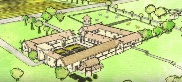 An artist's renderingof what the Roman villa would have looked like in its heyday.