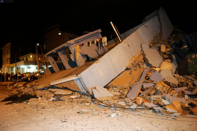 A collapsed home after an earthquake in the city of Guayaquil on April 17,