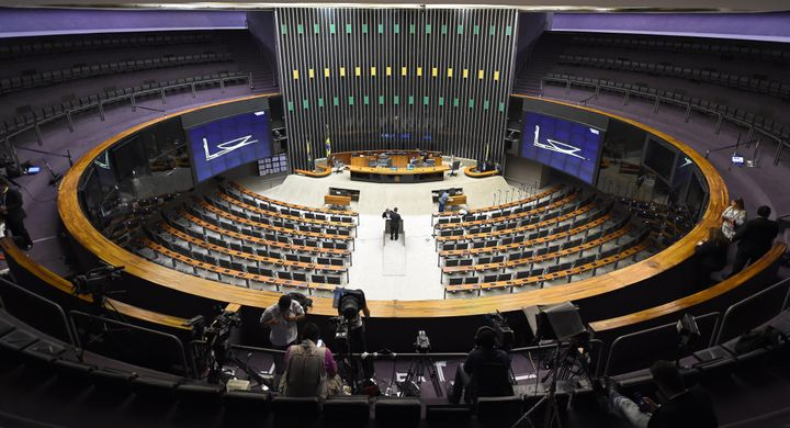 Overview of the Brazilian National Congress' Lower House, where the admissibility of the impeachment request of President Dil