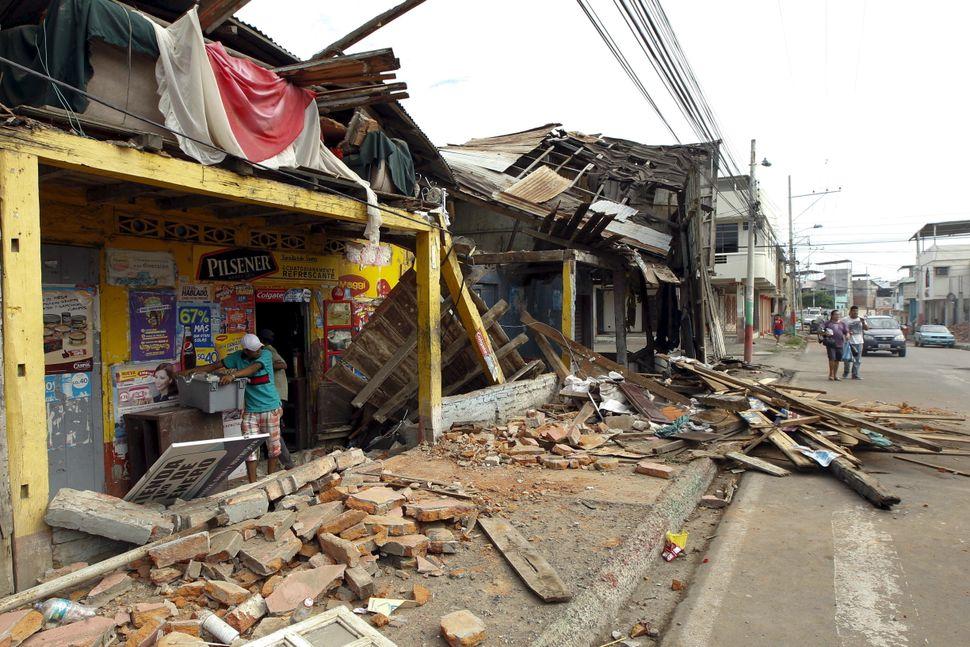 Damage seen in the Tarqui neighborhood in Manta, Ecuador, April 17, 2016.