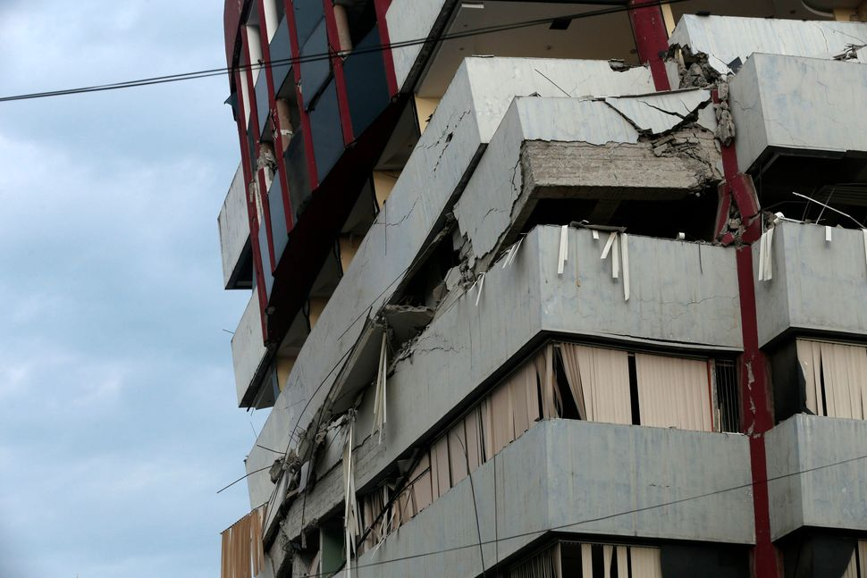 View of a damaged building in Portoviejo, Ecuador, on April 17, 2016.