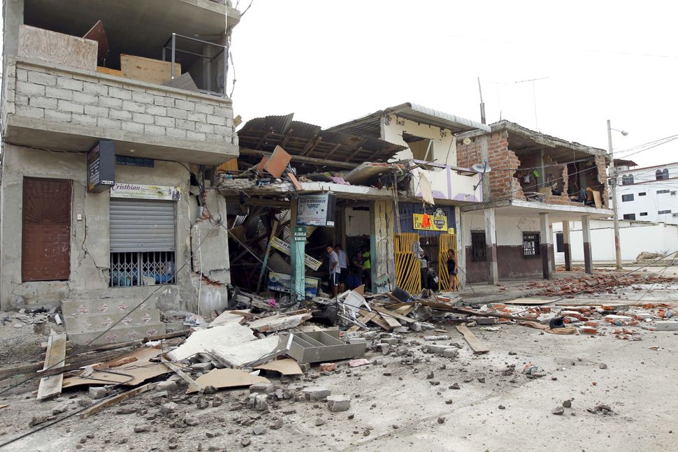 Damaged homes in the Tarqui neighborhood in Manta on April 17, 2016.