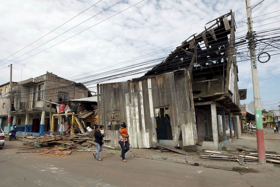 Devastated houses in the Tarqui neighborhood in Manta on April 17, 2016.