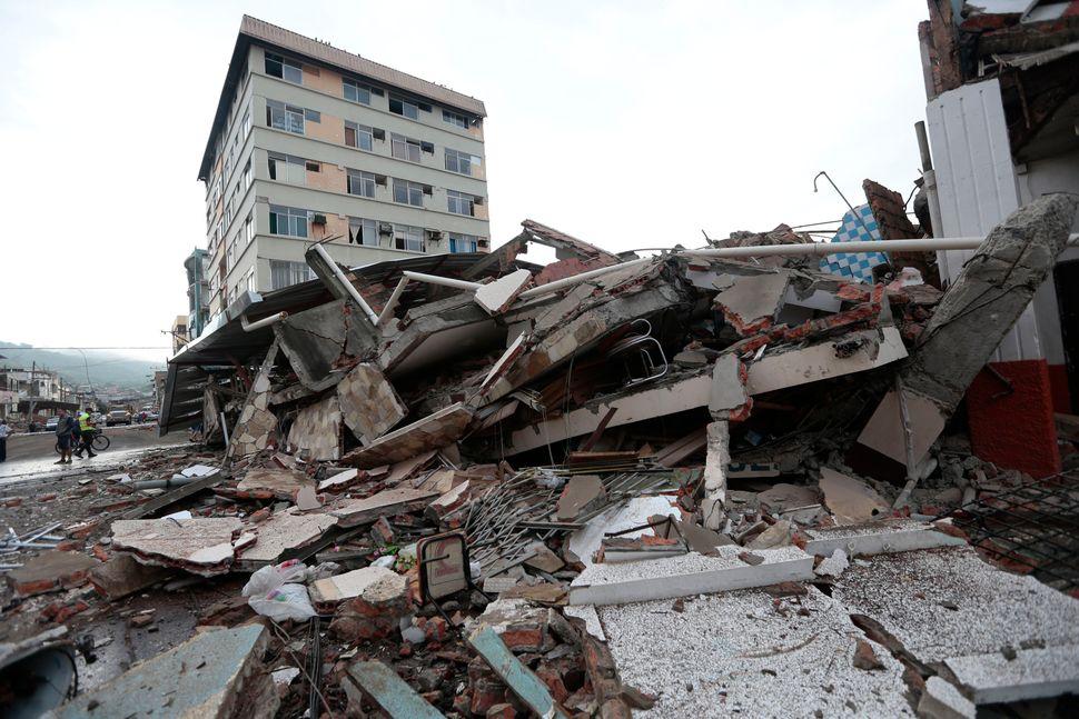 View of rubble after a 7.8-magnitude quake in Portoviejo, Ecuador, on April 17, 2016.