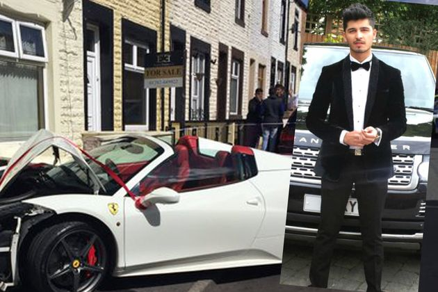 YouTuber Lord Aleem's Ferrari Spider 458 Crashes Into House In Burnley,