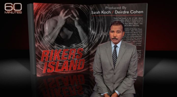 """""""60 Minutes"""" correspondent Bill Whitaker introduces an April 17, 2016, report on prisoner abuse at Rikers Island."""