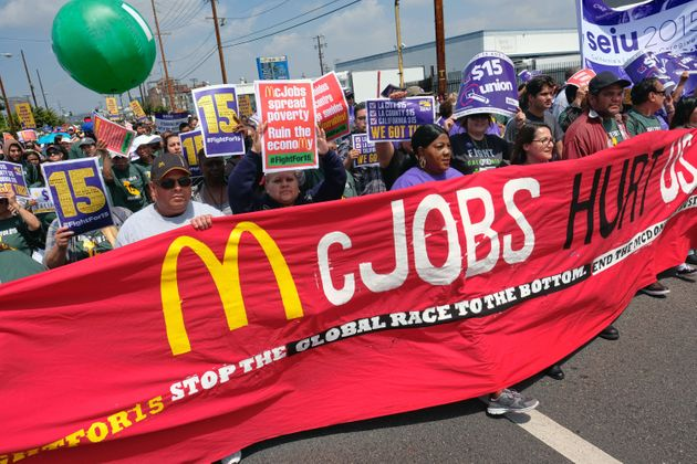 Protestors in Los Angeles last week calling for better pay and union