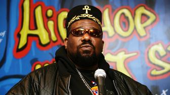 NEW YORK - FEBRUARY 28:  Hip hop pioneer Afrika Bambaataa speaks during a press conference to announce the launch of The Smithsonian's 'Hip-Hop Won't Stop: The Beat, The Rhymes, The Life' at the Hilton Hotel February 28, 2006 in New York City.  (Photo by Scott Gries/Getty Images)
