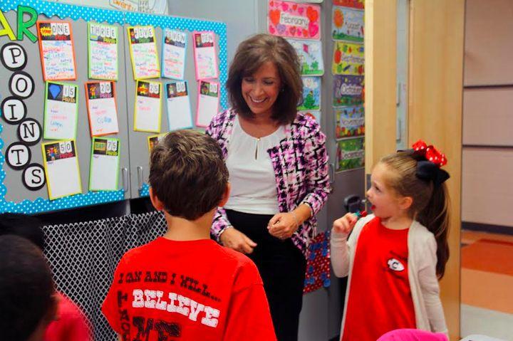 Joy Tyner, principal of Northside Elementary, visits a second grade classroom.