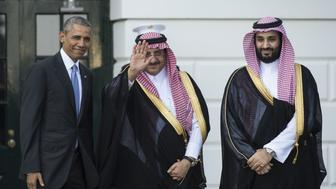 US President Barack Obama welcomes Saudi Crown Prince Mohammed bin Nayef (C) and Deputy Crown Prince Mohammed bin Sultan (R) to the White House in Washington, DC, on May 13, 2015. Obama is hosting leaders of the Gulf Cooperation Council (GCC) to allay their fears over a potential nuclear deal with Iran and to disciuss regional security issues.   AFP PHOTO/NICHOLAS KAMM        (Photo credit should read NICHOLAS KAMM/AFP/Getty Images)