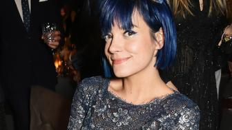 LONDON, ENGLAND - NOVEMBER 23:  Lily Allen attends a drinks reception at the British Fashion Awards in partnership with Swarovski at the London Coliseum on November 23, 2015 in London, England.  (Photo by David M. Benett/Dave Benett/Getty Images)