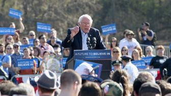 NEW YORK, NY - APRIL 17:  Democratic presidential candidate U.S Senator, Bernie Sanders speaks during, 'A Future To Believe In' GOTV rally concert at Prospect Park on April 17, 2016 in New York City.  (Photo by Mireya Acierto/FilmMagic)