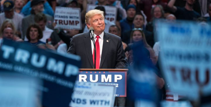 GOP presidential candidate Donald Trump spoke at the packed First Niagara Center in Buffalo Monday night.