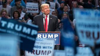UNITED STATES - APRIL 18 - Republican presidential candidate Donald Trump speaks at a campaign rally at the First Niagara Center, in Buffalo, N.Y., Monday, April 19, 2016. Trump has focused his campaign on the New York Primary, which is Tuesday, April 19, 2016. (Photo By Al Drago/CQ Roll Call)