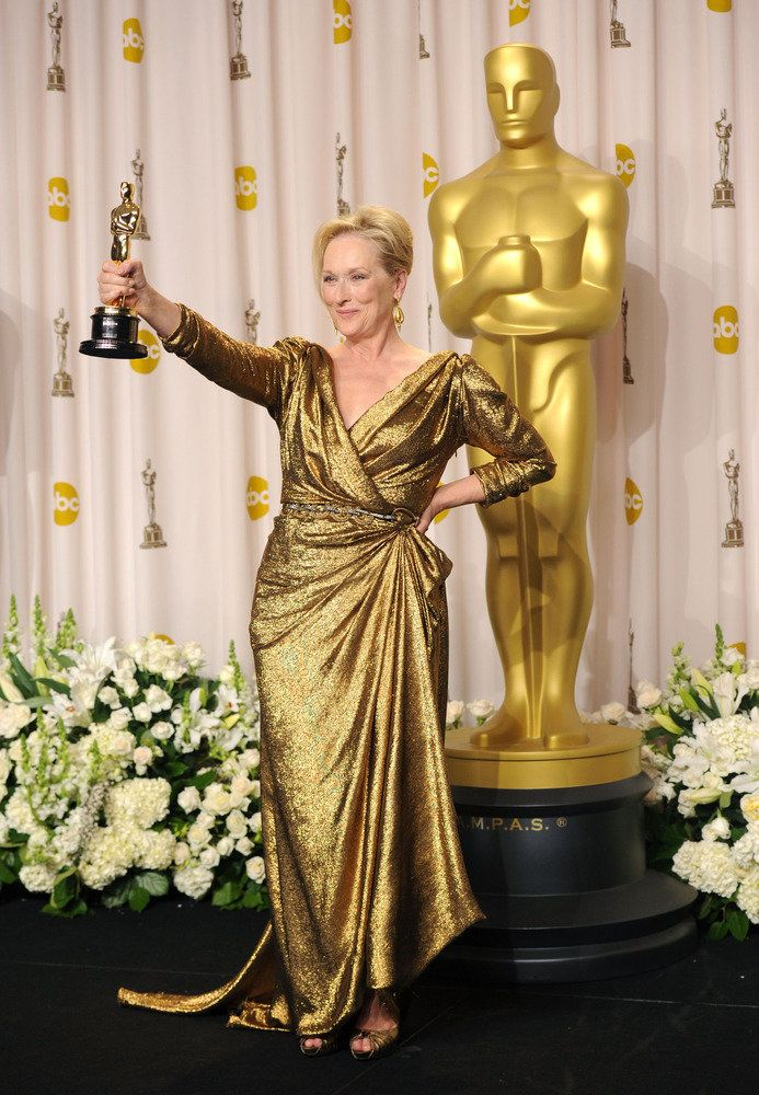 Meryl showing off her award for Best Actress at the 84th annual Academy