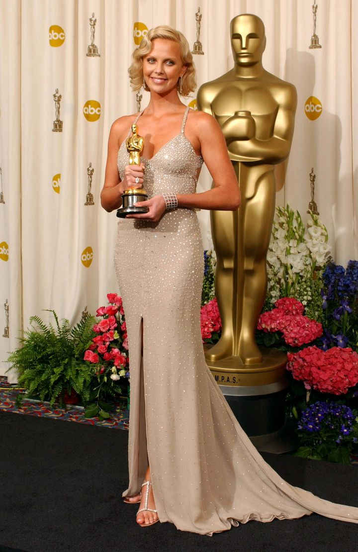 Charlize her Best Actress statue for her role in Monster.