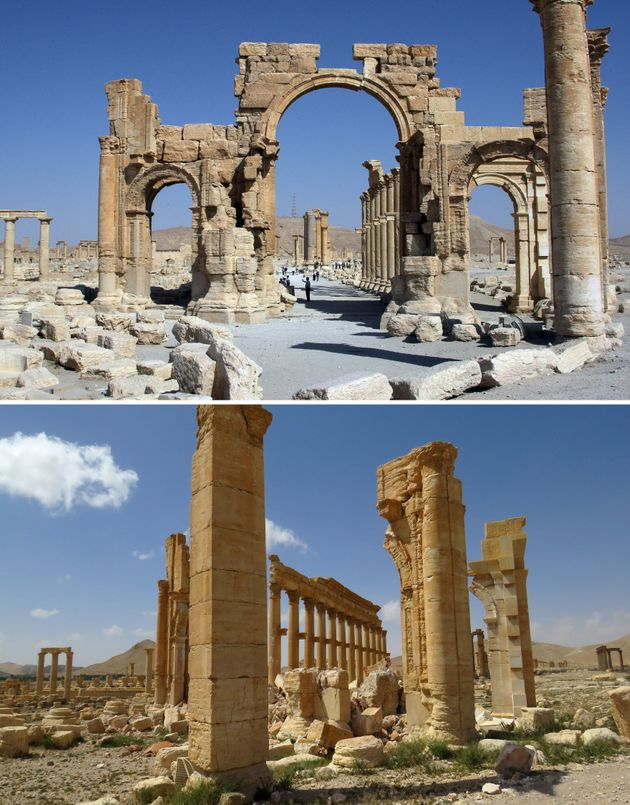 A combination of images shows a general view of the Palmyra arch taken in June 2010 before it was destroyed...