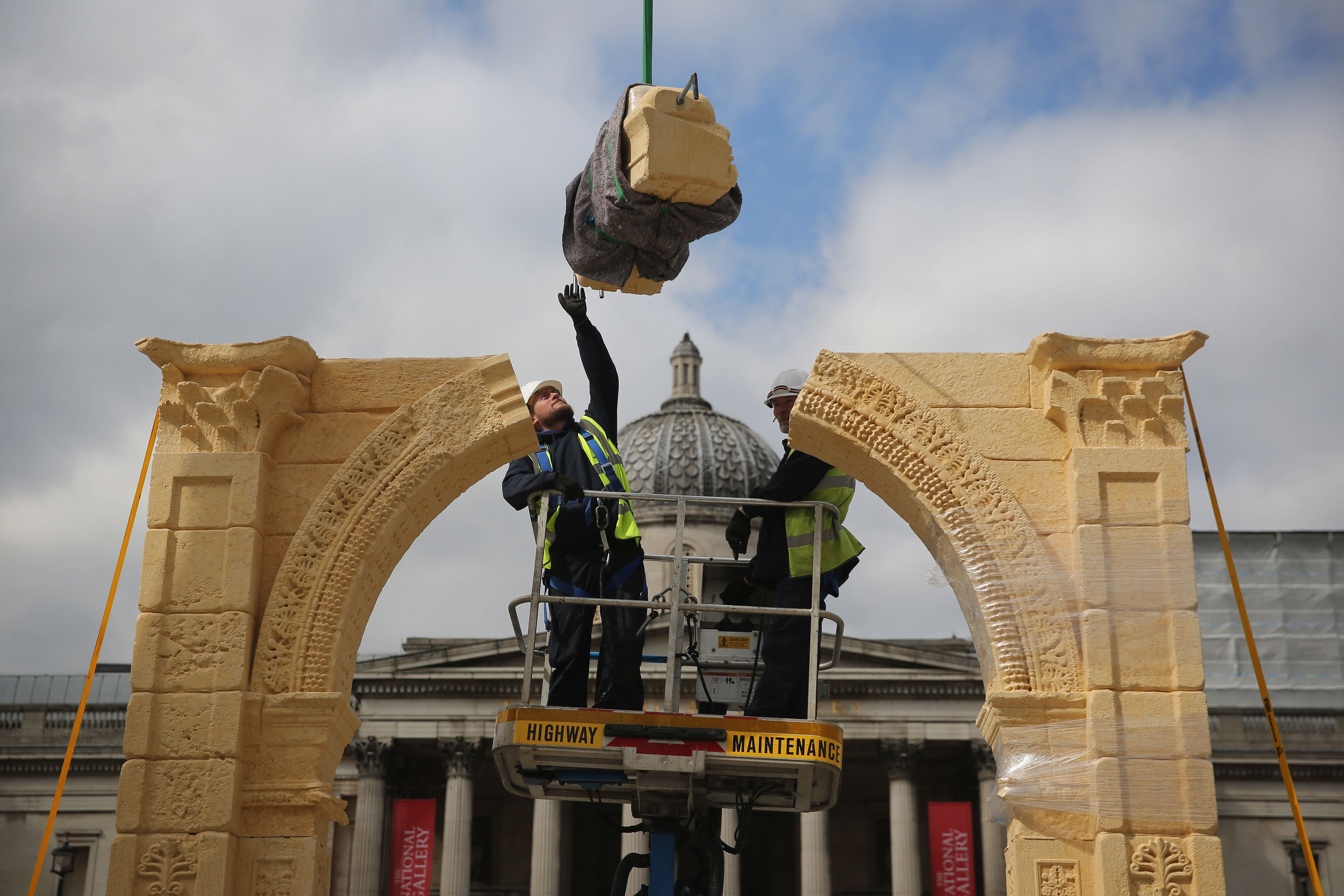 A replica of Palmyra's Arch of Triumph has been erected in London's Trafalgar Square where it will be...