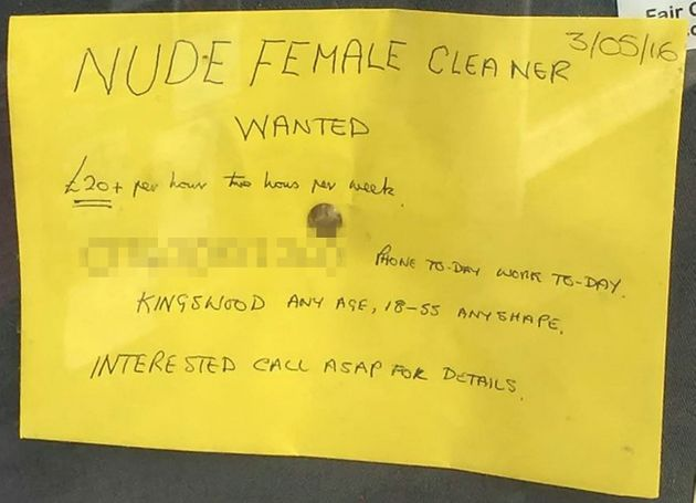 Naked Cleaner Ad In Newsagent's Window Yields Eight Applications For 70-Year-Old